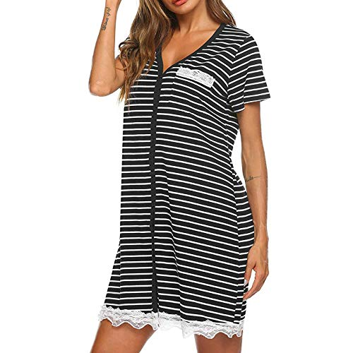 Masrin Damen Nachthemd Plus Size Streifen Tie-Dye Print Schlafkleid Kurzarm V-Ausschnitt Knopf Strickjacke Nachthemd Pyjama Nachtwäsche(XL,Schwarz)