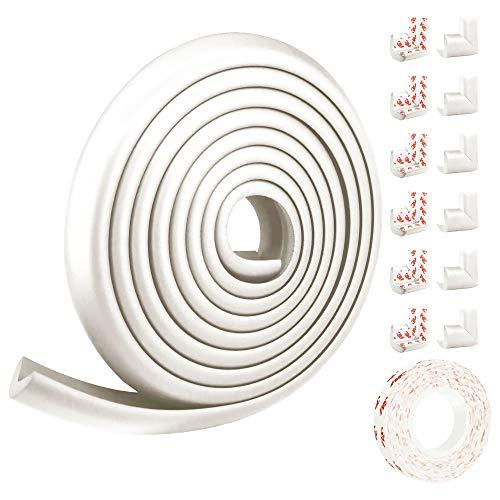 Juego de protector de bordes y esquinas para prueba de bebés Thicken,Protector de muebles y mesas a prueba de niños,Juego de herramientas de seguridad para bebés pre-grabados (5M, 12 esquinas) (White)