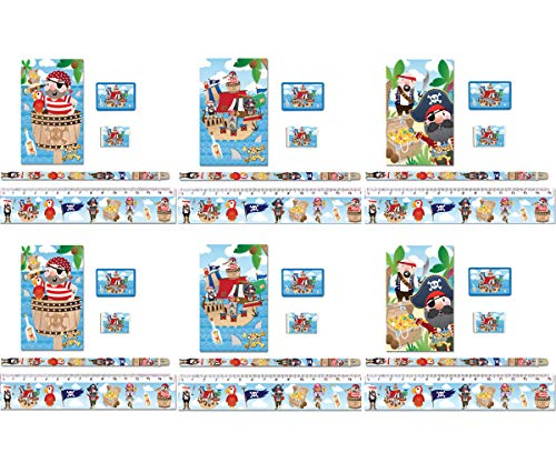 KINPARTY® 6 Pack Piraten-Schulmaterialien – Inhalt: 1 Bleistift, 1 Radiergummi, 1 Lineal, 1 Anspitzer und ein Mini-Buch – ideal für Geburtstagsgeschenke, Partys, gefüllt mit Pinatas, Geschenke