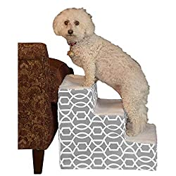 white dog on pet stairs for couch or bed, by pet gear