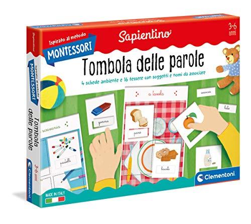 Clementoni - 16268 - Montessori - Tombola delle Parole - Made in Italy, gioco Montessori 3 anni, gioco educativo metodo montessoriano (Versione in Italiano)