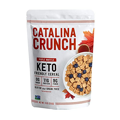 Catalina Crunch Maple Waffle Keto Cereal (9oz Bags) | Low Carb, Sugar Free, Gluten Free, Grain Free | Keto Snacks, Vegan, Plant Based Protein | Breakfast Cereals | Keto Friendly Food