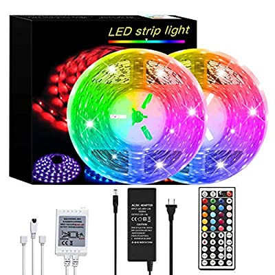LED Strip Lights 32.8ft/10m Color Changing 5050 RGB Flexible LED Rope Lighting LED Strip Lights Kit with 44-Keys IR Remote Controller and 12V Power Idear for Bedroom Room Home Kitchen