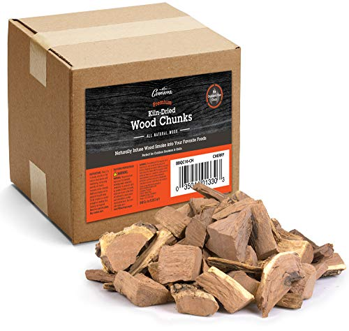 Camerons Products Smoking Wood Chunks (Cherry) ~ 10 Pound Bag, 840 cu. in. – Kiln Dried BBQ Large Cut Chips
