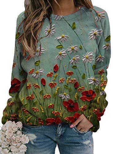 Sudaderas con Estampado de Flores para Mujer Camiseta Holgada con Cuello Redondo y Manga Larga de Gran tamaño