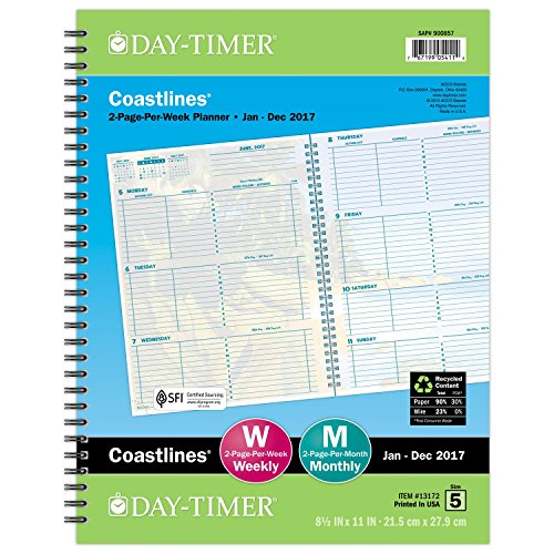 "Day-Timer Weekly Planner Refill 2017, 2 Page Per Week, Wirebound, Notebook Size, 8-1/2 x 11"", Coastlines (13172)"