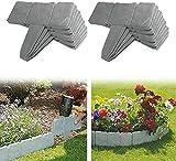 Bordatura da giardino, effetto pietra grigia, bordi di prato da giardino in plastica, recinzione da giardino, per separare il prato da giardino e le aiuole (confezione da 10 pezzi)