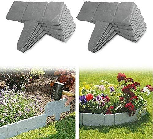 Mscomft Rasenkanten,Palisade,Grau Garten Rasen Zierzaun,Mähkante Beetumrandung Palisade Garten dekorativ,23 cm x 24,5 cm (2,5 m (10 Stück))
