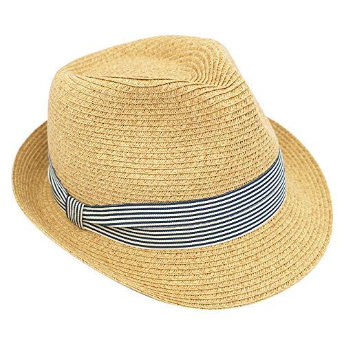 Krono Krown Women's Fedora Panama Short Brim Roll Up Summer Beach Sun Hat w/Ribbon Bow - Paper Straw, Adjustable, UPF50+(Tan/Ribbon)
