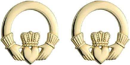 14K Gold Claddagh Stud Earrings Small Irish Earrings Made in Ireland