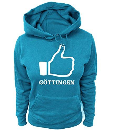 Artdiktat Damen Hoodie - I Like Göttingen, Größe L, blau