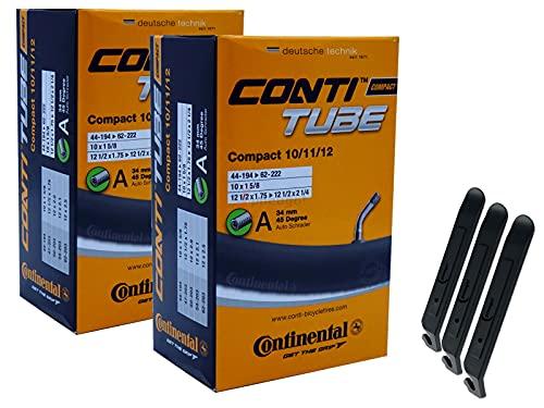 pneugo! Continental 44-194/62-203 Compact - Cámara de aire para bicicleta (2 unidades, 12', válvula automática 44-194/62-203, incluye 3 desmontadores de neumáticos)