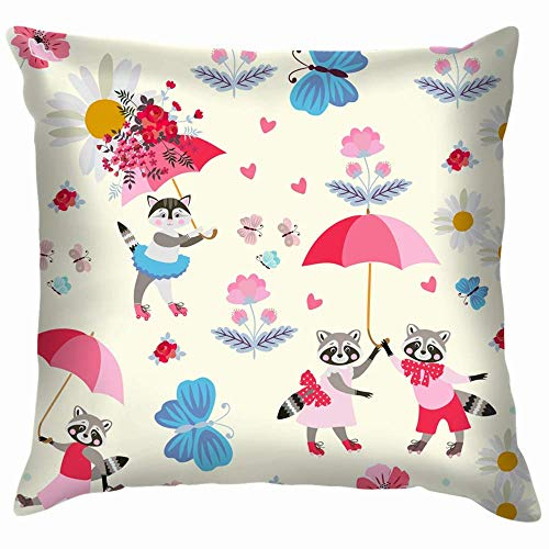 Moily Fayshow Funny Little Raccoons Kitty Pink Umbrellas Animals Wildlife Animal Pillow Case Throw Pillow Cover Square Cushion Cover 16X16 Inch