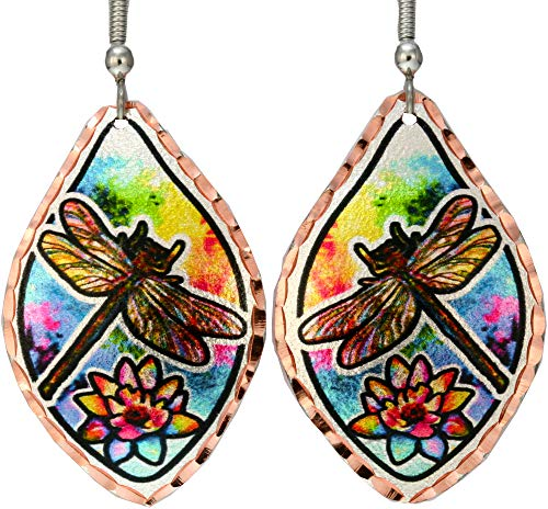 Eleven Various Shapes and Colors of Hummingbird Earrings/Dragonfly Earrings/Pair Earrings of Flamingo/Parrots/Swallowtail/Monarch Made from Copper Reflections Jewelry Multicolor