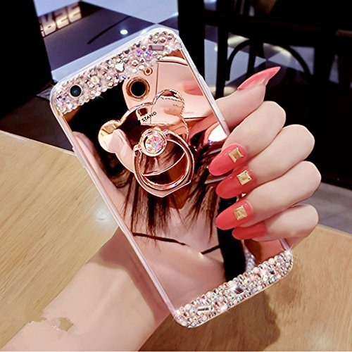 EMAXELERS Funda iPhone 7/8, Ligera Silicona Suave TPU Gel Bumper Cover de Protección Antideslizante [Anti-Rasguño] Caso para iPhone 7/8 4.7 Inch,Rose Gold Mirror with Bear Holder