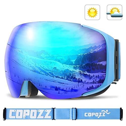 HUXIZ Skibrille Magnetic Skibrille New COPOZZ Marke Doppelte Schichten UV400 Anti-Nebel Big Ski-Maske Brille Skifahren Männer Frauen Schnee Snowboardbrillen (Farbe : Blau, Size : 18 * 9.5cm)