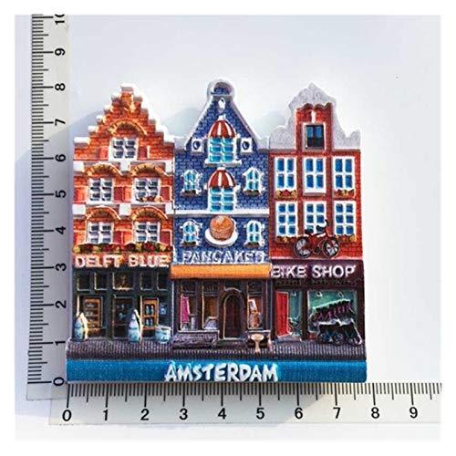 ZHEMAIE Imán para nevera de Amsterdam Países Bajos Imán de nevera Recuerdos 3D Resina Holanda Pegatina Decoración Folk Cultura Artesanal Ideas (Color: Amsterdam 3)