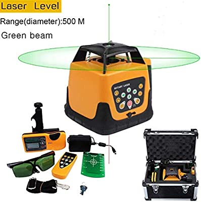 Iglobalbuy Automatic Self-leveling Rotary Laser Level Green Beam 500m Range W/ Remote Control/Staff and Tripod