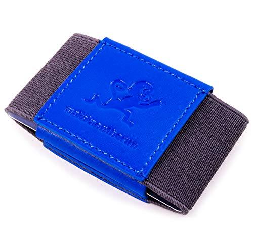 Premium Slim Wallet & Monedero Clip (con & sin Monedero) – Mini Monedero Hombre & Mujer – Pequeño, Slim Tarjetero – Vegano o Cuero, 6 Veganes Polipiel Azul (Azul) - MOTR-3CH-VegGrayBlue