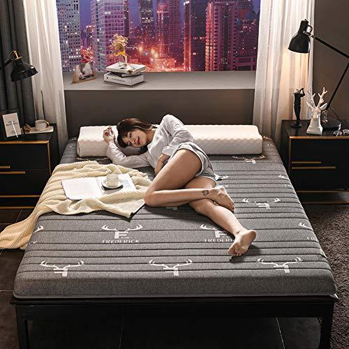 DGPOAD Latex Matratze, Gepolsterte Tatamimatte,Double Weiches Bett Klappbare Futon-matratze,bodenmatratze,Tatami Mat Faltbare Roll-up Matratze,Grau,180x200cm