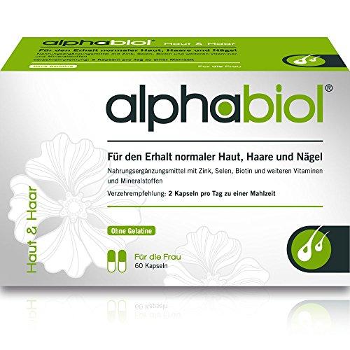 alphabiol Haut & Haar für den Erhalt normaler Haut, Haare und Nägel, 60 Kapseln für 30 Tage