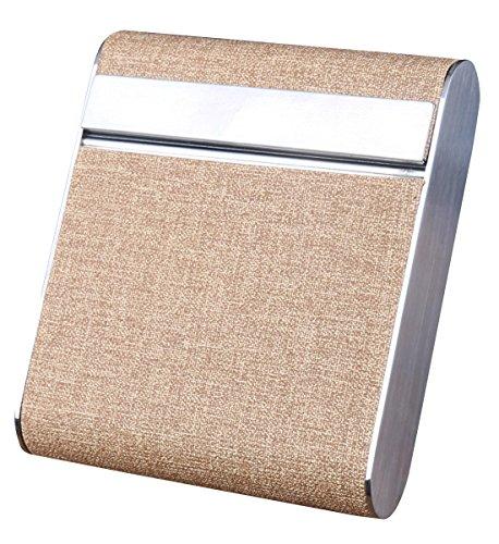 Aieoe AIEOE Zigarettenetui Zigarettendose Zigarettenbox aus Metall und Synthetik für 20 Zigaretten Beige