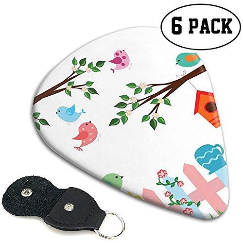 Gitaar plukt 6 stuks,Pastel gekleurde vogels in de tuin met vogelhuisjes bomen en hek kleurrijke cartoon.46mm