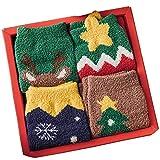 Calcetines De Invierno para Dormir De Dibujos Animados Decoración del Árbol De Navidad Caja Calcetines De Lana Coral Año Set