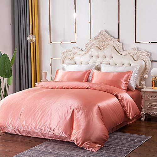 Tofern Juego de ropa de cama de satén con cremallera oculta, funda nórdica de 100% poliéster satinado, color rosa, ropa de cama (135 x 200 cm) + 1 funda de almohada (50 x 75 cm)