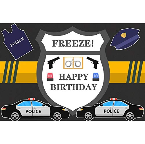 OERJU 5x3ft Happy Birthday Backdrop Police Cars Police Uniform Freeze Little Police Theme Birthday Banner Little Policeman Bday Photo Wallpaper Cake Table Birthday Party Supplies