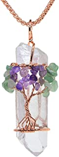Justinstones Tree of Life Wire Wrapped Natural Clear Quartz Healing Crystal Point Pendant Necklace