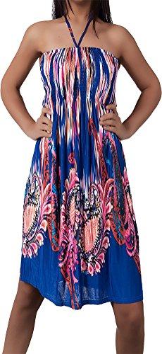 Damen Kleid Minikleid Strandkleid Neckholder Bunt Design Bandeau Partykleid Blumen Aztec Paisley...