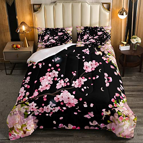 Cherry Blossoms Bedding Comforter Set,Japanese Style Duvet Insert Girls Woman Nature Plant Flower Floral Down Alternative,Decor 3Pcs Bedding Set (1 Quilted Duvet 2 Pillow Shams) Full,Pink Black