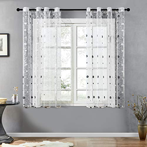 Topfinel Voile Gardinen mit Ösen Polka Dot Punktmuster Stickerei Vorhänge Transparent Tüll Dekoschal für Wohnzimmer Fenster Kinderzimmer 145x140cm in HxB 2er Set Weiß