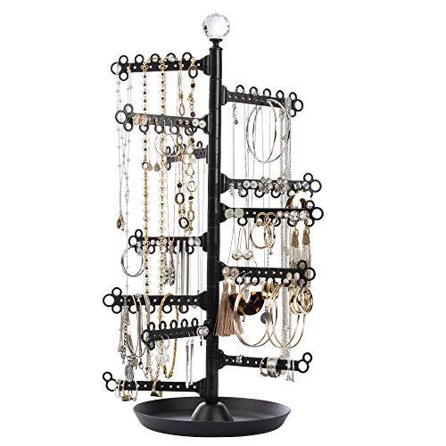 """All Hung Up:12-Tier 17.5"""" Large Capacity Jewelry Holder ~ Earrings (120 holes-stud/dangly) Necklaces Rings ~ Display Stand Tower Tabletop Tree Rack Storage Organizer - Accessory Tray Base Dish - Black"""