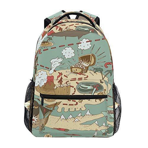 DXG1 Rucksack Schultasche Laptop Reise Schultertaschen Daypack für Jungen Mädchen Herren Damen College Wandern Camping Ladies Island Schatz Piraten Karte