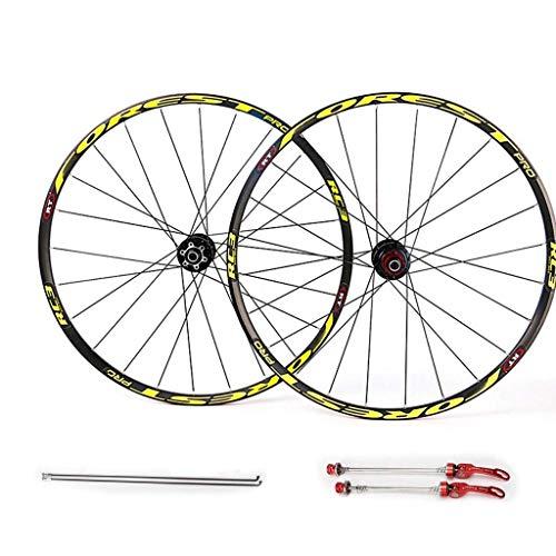 WYN 27'27.5' Conjunto de Ruedas de Bicicleta MTB, Conjunto de Plumas de Doble Pared Freno de llanta de Disco 7 8 9 10 11 11 11Espeed Cojines sellados Hub (Color : Yellow, Size : 27.5inch)