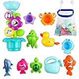 deAO Kids Badespaß Blumenregner mit Gießkanne, Wasserrad und bunten Stapelbechern; Aufziehbares...