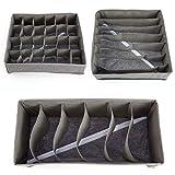 Surepromise 3tlg. Grau Faltbar Aufbewahrung Organizer Box Sammelbox Faltbox Schubladenbox Sockenbox Trennfächer Unterwäsche Socken