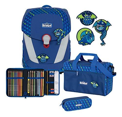 Scout Sunny II - Juego de mochila y accesorios escolares (4 piezas) Flying Monsters talla única