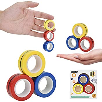 Browill Magnetic Finger Ring Magnetic Ring Fidget Spinner Toy Upgraded Hand Spinner for Stress Relief Christmas & Birthday Gift for Kids Friends and Family.
