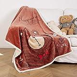 Fleece Throw Blankets for Kids, Toddler, Infant, Baby, Newborn, Child 53 37 inches, Cartoon - Fuzzy Warm Cozy Soft Thick Plush Microfiber Blanket(Brown Teddy Bear)