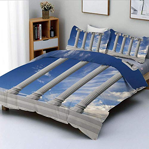 Qoqon Bettbezug-Set, historisches Thema Vier antike Marmorsäulen und das Sky Digital ImageDecorative 3-teiliges Bettwäscheset mit 2 Kissenbezügen, Hellgrau-Blau, Kinder und ADU