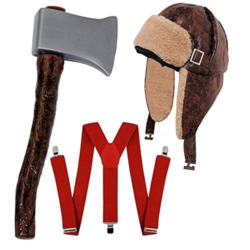 I LOVE FANCY DRESS LTD HILLY Bill HOLZFÄLLER-Lumberjack = KOSTÜM VERKLEIDUNG Halloween Fasching+Karneval Unisex=HOSENTRÄGER+MÜTZE+AXT