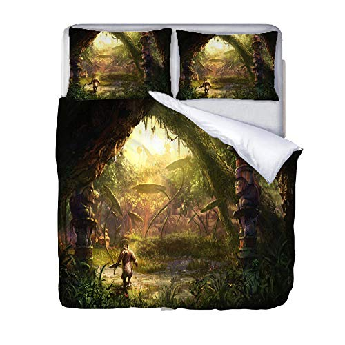JKZHILOVE Duvet Covers 102x87 inch 3D printing Green dream forest 100% super soft microfiber easy Care Anti-Allergic Soft Smooth all-season Bedding With 2x Pillowcases for Teens Home Decoration