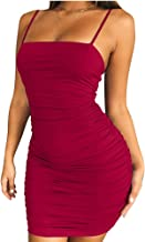 YFANG Women's Sexy Spaghetti Strap Ruched Bodycon Dress,Summer Ruched Mini Club Dress