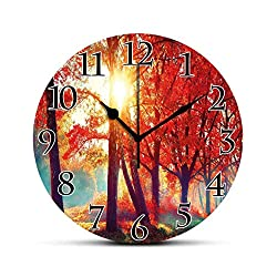 BCWAYGOD Tree Silent Wall Clock Autumnal Foggy Park Fall Nature Scenic Scenery Maple Trees Sunbeams Woods Desk Clock Round Unique Decorative for Home Bedroom Office 10in