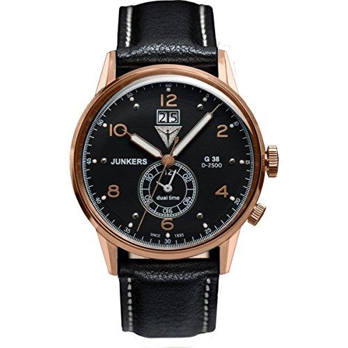 Junkers Men's G38 42mm Black Leather Band Steel Case Quartz Watch 6942-5