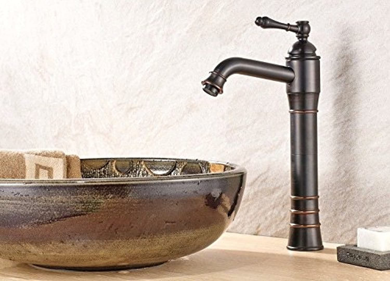 MNLMJ Moderne einfacheKupfer hei und kalt Spülbecken Wasserhhne Küchenarmatur Bad WasserhahnKupfer antik Erhhung warmen und kalten Mischer schwarz Geeignet für alle Badezimmer Küchenspülen