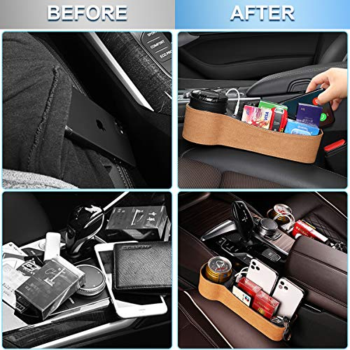 CAVEEN Car Seat Gap Filler, Multifunctional Car Seat Organizer, Car Console Side Organizer with 2 USB Charging, Car Seat Pockets Storage Box for Cellphone Wallet Coin Key, 2 Pack, Black, Light Tan